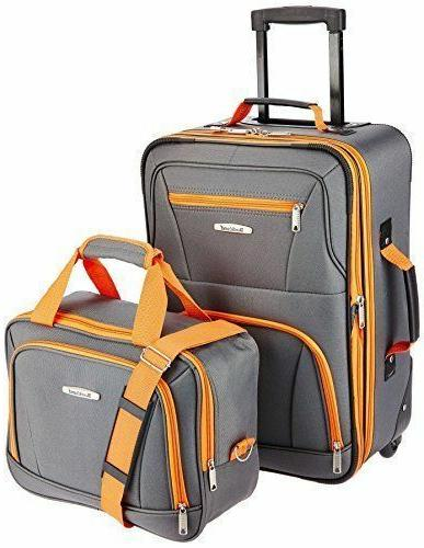 Travel Luggage Bag With Wheel Rolling Set 2 Piece Suitcase W