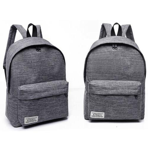 US Men Canvas Backpack Book College