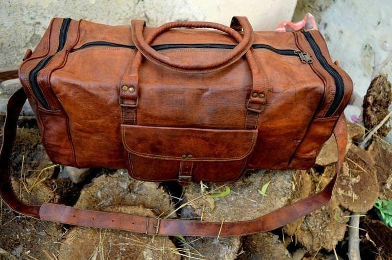 Vintage Men's Bag Duffel Travel Luggage Gym Genuine Weekend