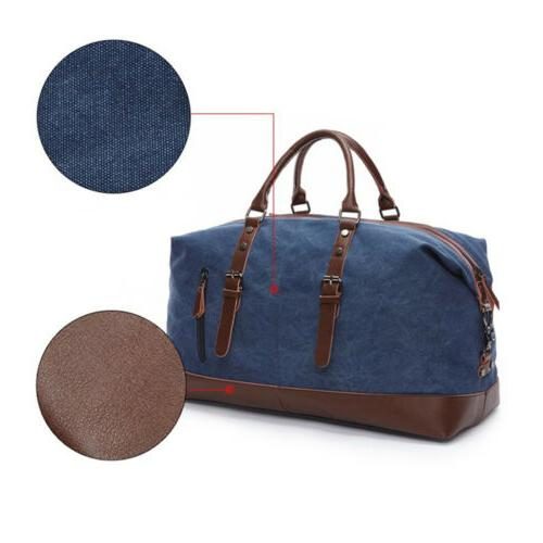 Men's Vintage Military Canvas Leather Travel Shoulder Handbag Luggage