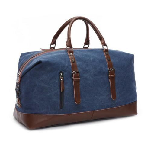 Men's Vintage Military Canvas Leather Travel Shoulder Luggage