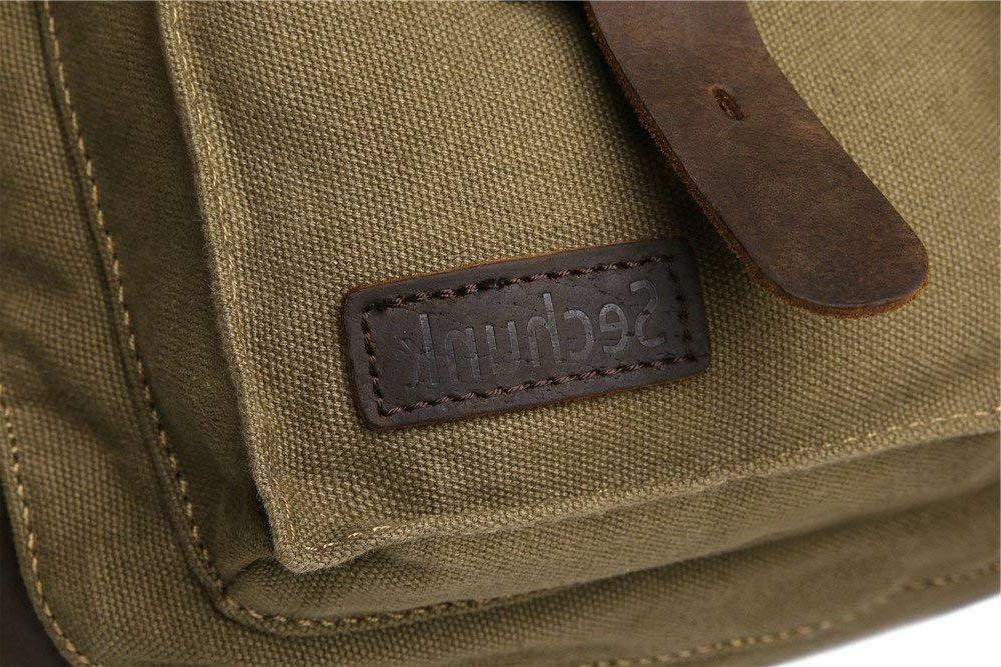Sechunk Military Leather Canvas Laptop Bags Medium