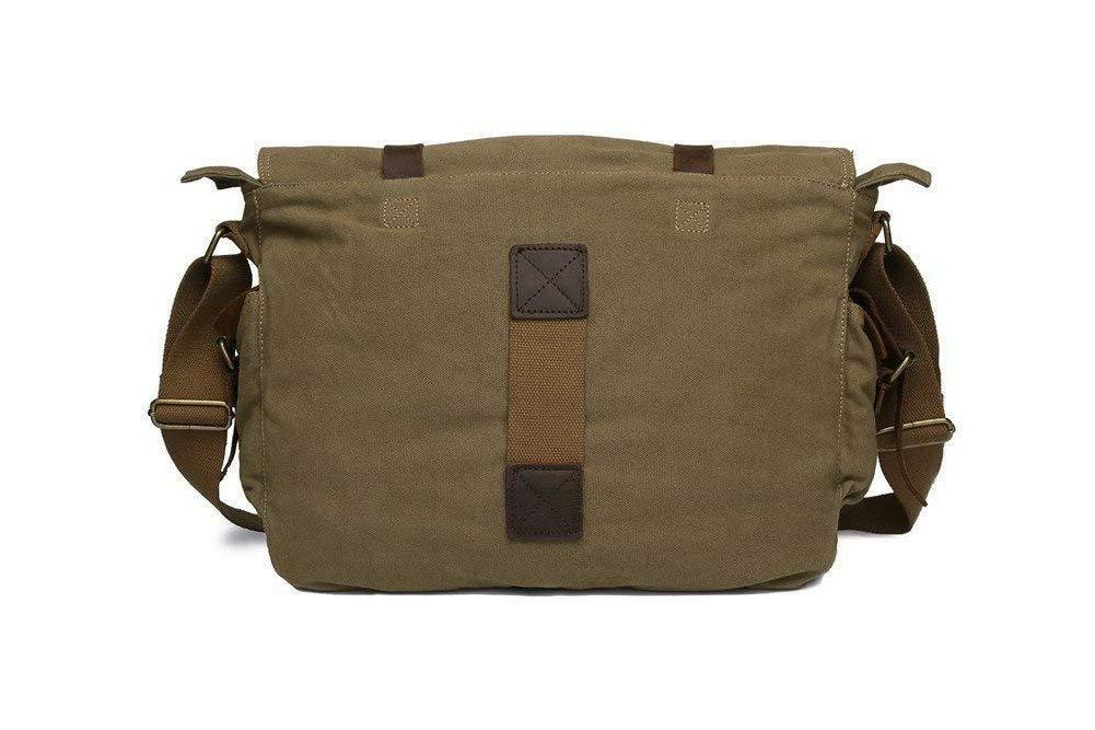 Sechunk Vintage Military Leather Canvas Messenger Bags Medium