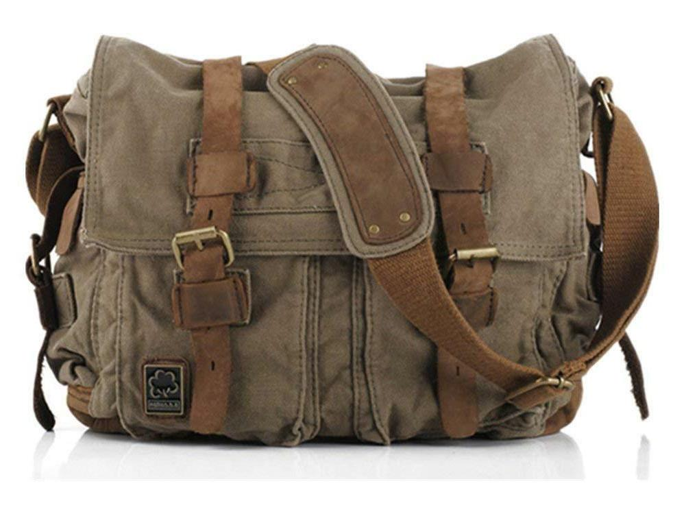 vintage military leather canvas laptop bag messenger
