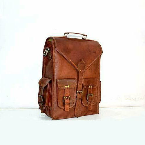 "Bag & Laptop Vintage Shoulder Travel Bag 17"" Leather Handmade Backpack"