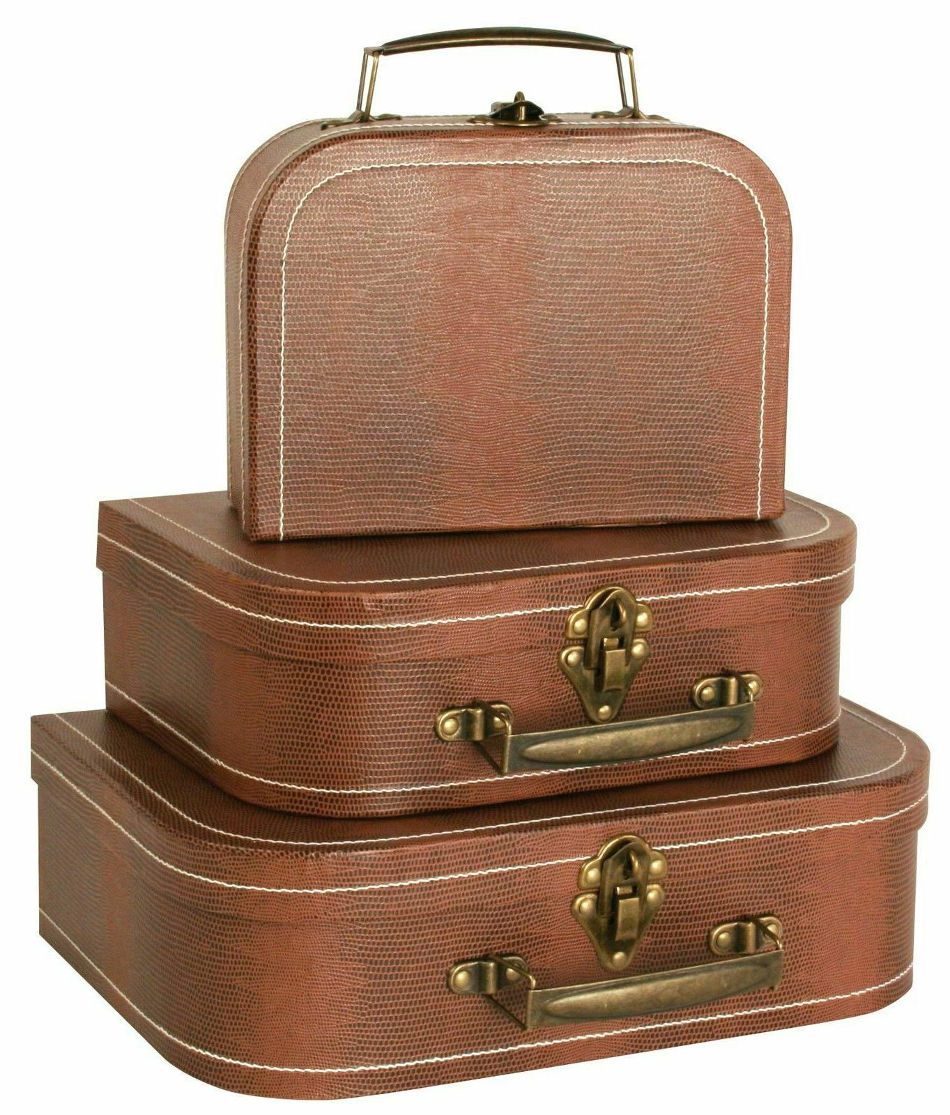 Vintage Suitcases Luggage Travel Set Antique Trunk Chest Box