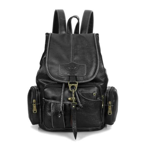 Women Girls Leather Backpack Shoulder Travel Bag Rucksack