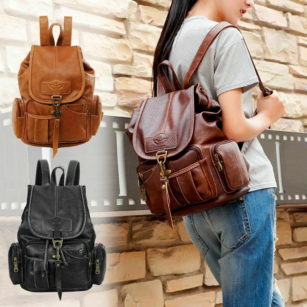 women girls leather backpack shoulder school satchel