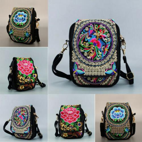 Women Retro Travel Pouch Floral Embroidered Zip Bag Crossbod