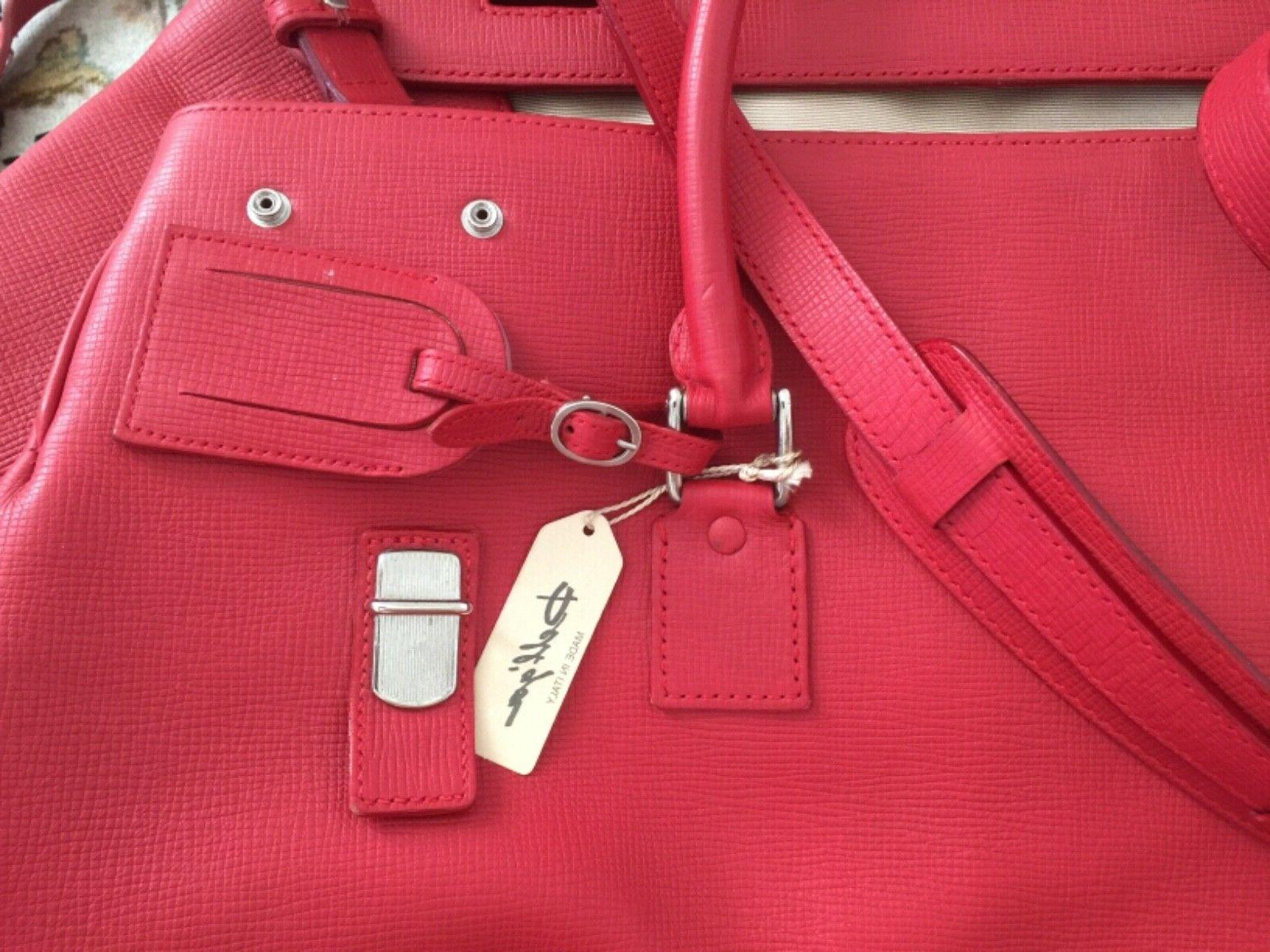 XXL Leather Duffel luggage red vintage