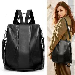 Ladies Women Fashion Leather Backpack Soft Leather Large Cap
