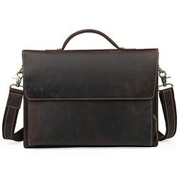 Sunsamy Laptop Bag Men Retro Leather Business Bag Briefcase