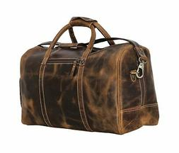 Leather Duffel Bag Travel Gym Sports Overnight Weekend cabin