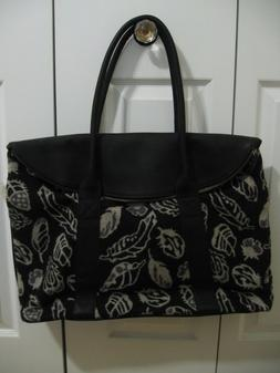 PENDLETON LEATHER / WOOL TRAVEL OVERNIGHT BAG TOTE STORM FEA