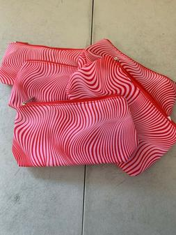 Lot of 5 Clinique Pink/Red Print Zippered Cosmetics Makeup T