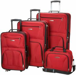 Rockland Luggage Expandable Wheeled 4 Piece Travel Set, Red