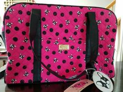 Luv Betsey Johnson Dog Pug Weekender Fuchsia Quilted Duffle