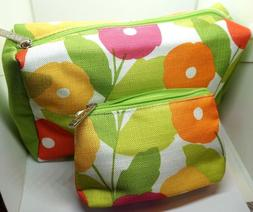 CLINIQUE Floral Print Cosmetic Makeup Bag Set Zipper Pouch