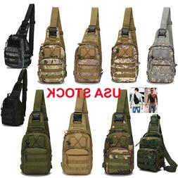 Men Backpack Molle Tactical Sling Chest Pack Shoulder Bag Ou