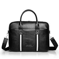 Xiuzhifuxie Computer Bag, Men's Briefcase Men's Black Leathe