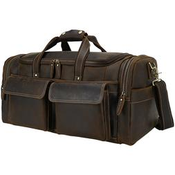 Men Leather Carry On Luggage Travel Bag Duffle Gym Bag Shoul