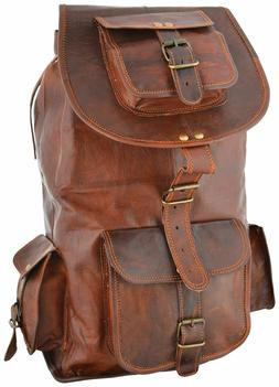 Men Leather Travel Rucksack Camping Satchel Shoulder Backpac