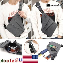 Men's Business Travel Sling Canvas Chest Pack Crossbody Anti