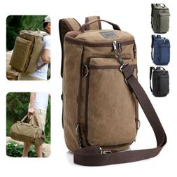 Men's Canvas Backpack Rucksack Hiking Travel Duffle Bag Mili