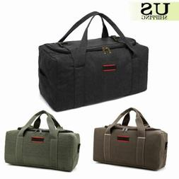 Men's Military Canvas Leather Gym Duffle Shoulder Bag Travel