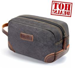 Mens Leather and Canvas Travel Toiletry Bag Dopp Kit for out