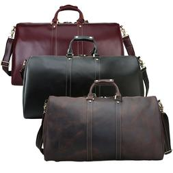 Mens Real Leather Luggage Travel Bag Duffle Gym Bag Overnigh
