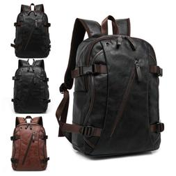 Mens Travel Backpack School Satchel Leather Laptop Camping R