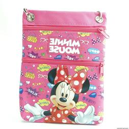 Minnie Mouse Neck Pouch Travel Wallet Small Crossbody Bag Pu