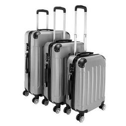 New 3 Pieces Travel Spinner Luggage Set Bag ABS Trolley Carr