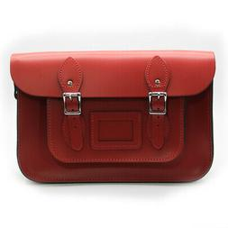New Premium Travel 12.5 inch Real Leather Buckle Satchel Bag