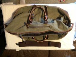 NWOT! WBAOSHA Canvas Leather Travel Tote Duffel  Carry on -