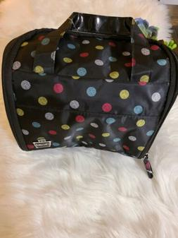 NWT CABOODLES hanging toiletry travel bag Black with Polka D