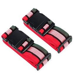 HOLLY TRIP Pack of 2 Luggage Straps, Adjustable Luggage Stra