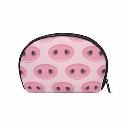 ALAZA Pig Nose Half Moon Cosmetic Makeup Toiletry Bag Pouch