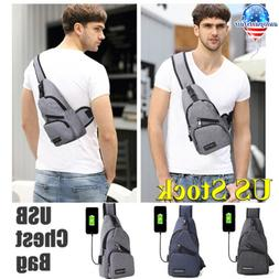 Polyester Small Sling Bags USB Charging Chest Pack Shoudler