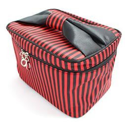 HOYOFO Women Portable Travel Cosmetic Bags with Brush Holder