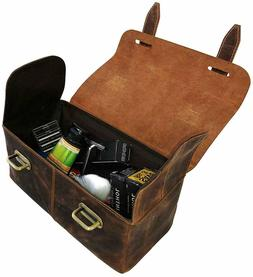 Quality Genuine Leather Men's Shaving, Toiletry and Travel B