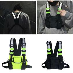 Reflective Tactical Front Chest Rig Bag Nylon Pouch Outdoor