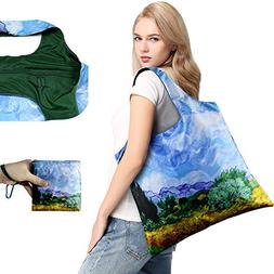 Reusable Grocery Bags with Top Zipper Foldable Fashion Shopp