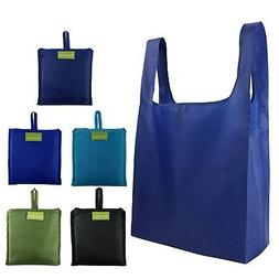 Reusable Grocery Bags 5 Pack, Grocery Tote Folded into Attac