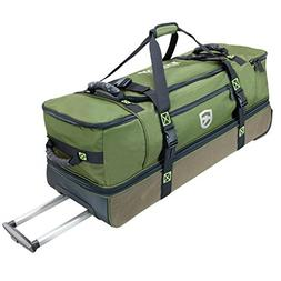 Elkton Outdoors Rolling Fishing Duffle Bag with Wet, Dry Gea