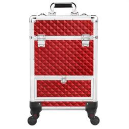 Rolling Makeup Train Case Professional Cosmetic Travel Bag V