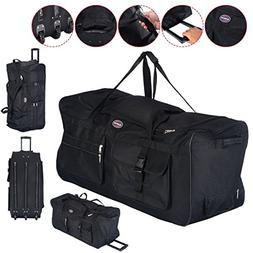 "36"" Rolling Wheeled Tote Duffle Bag Carry On Luggage Travel"