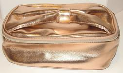 Ulta Rose Gold Train Case Travel Bag Cosmetic Toiletry Bow H
