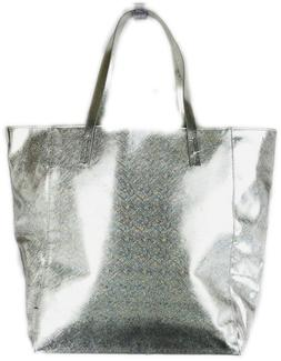 Clinique Silver Tote Travel Bag With Bright Green Interior L
